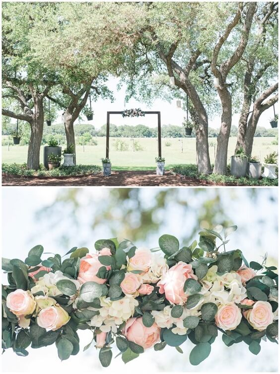 Wedding arch decorations for Light Blue, Blush and Deep Blue July Wedding 2020