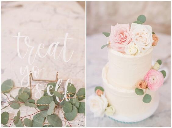 Wedding cake for Light Blue, Blush and Deep Blue July Wedding 2020