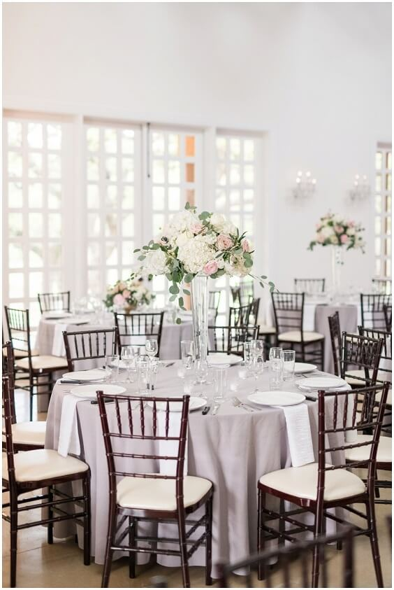 Wedding table decorations for Light Blue, Blush and Deep Blue July Wedding 2020