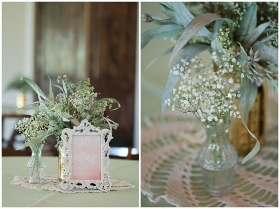 Wedding table decorations for Mint Green, White and Khaki July Wedding 2020