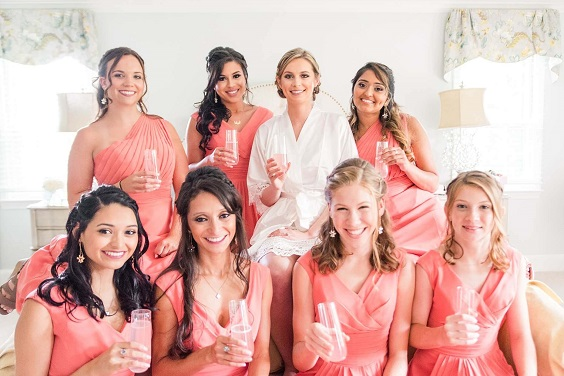 Coral Bridesmaid Dresses for Coral, Gold and Navy Blue July Wedding 2020