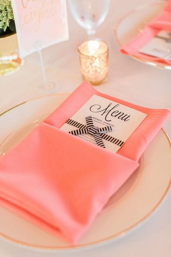 Coral napkins for Coral, Gold and Navy Blue July Wedding 2020