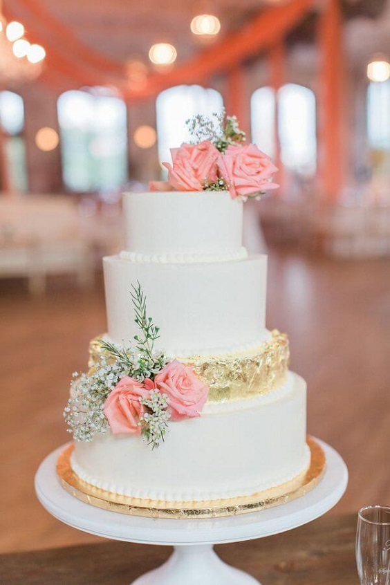 Wedding cakes for Coral, Gold and Navy Blue July Wedding 2020