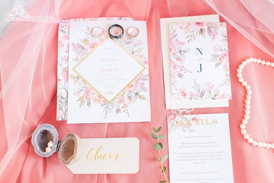 Wedding invitations for Coral, Gold and Navy Blue July Wedding 2020