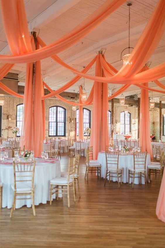 Wedding reception decorations for Coral, Gold and Navy Blue July Wedding 2020