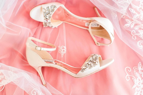 Wedding shoes for Coral, Gold and Navy Blue July Wedding 2020