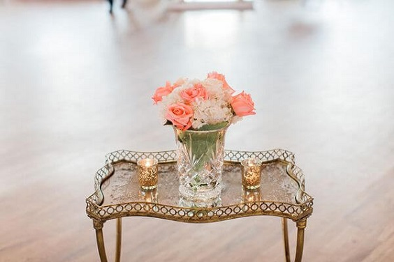 Wedding table decorations for Coral, Gold and Navy Blue July Wedding 2020