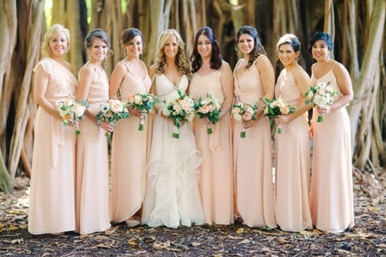 Peach, White and Navy Blue July Wedding 2020, Peach Bridesmaid Dresses, White Bridal Gown