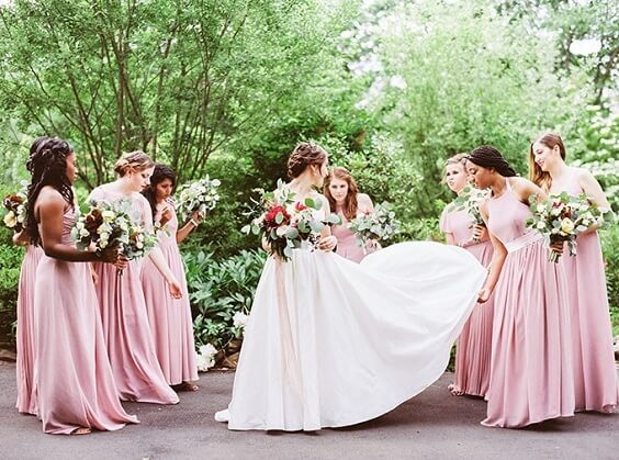 Blush Bridesmaid Dresses for Blush, Berry and Navy Blue July Wedding 2020