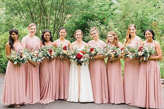 Blush, Berry and Navy Blue July Wedding 2020, Blush Bridesmaid Dresses, Berry Bouquets