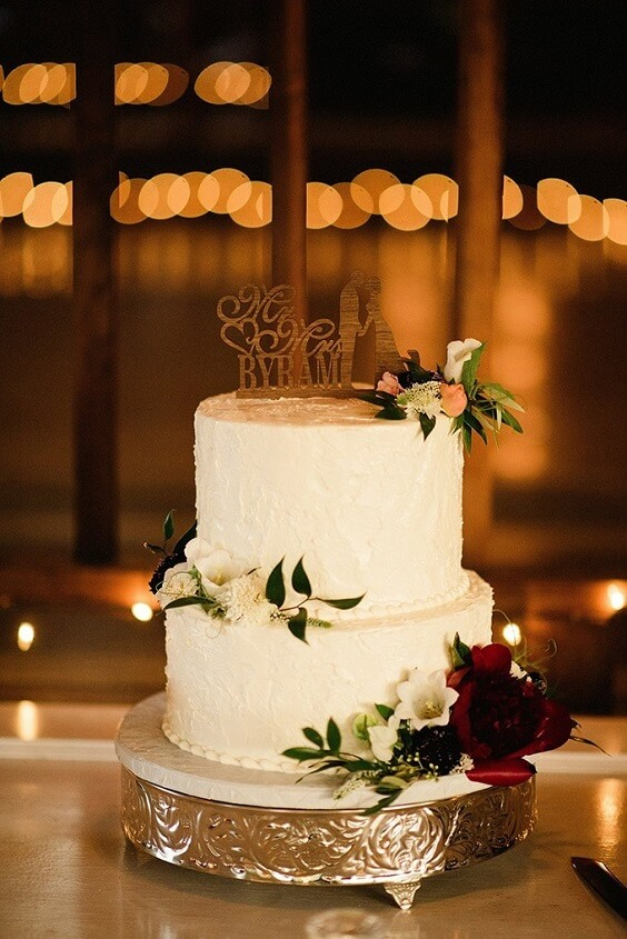 Wedding cake for Blush, Berry and Navy Blue July Wedding 2020