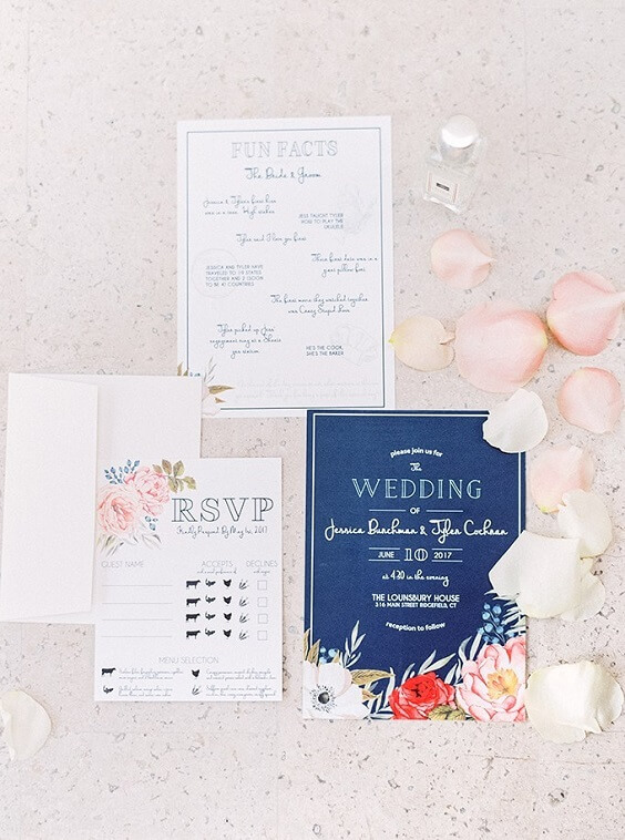 Wedding invitations for Blush, Berry and Navy Blue July Wedding 2020