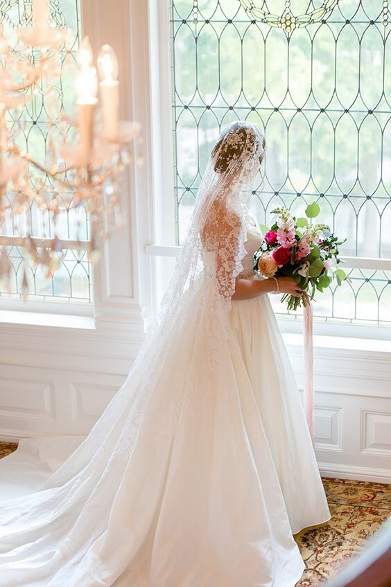 Whte bridal gown for Blush, Berry and Navy Blue July Wedding 2020