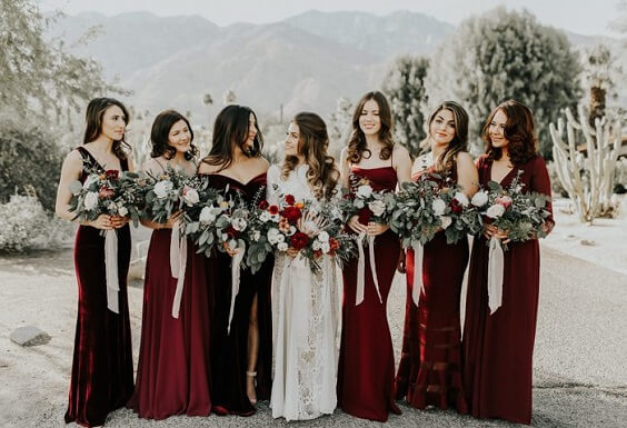 Dark Red, White and Black December Wedding 2020, Dark Red Bridesmaid Dresses, White Bridal Gown
