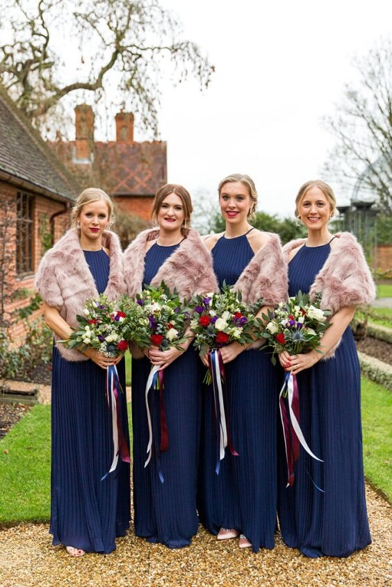 Dark Blue, Burgundy and Purple December Wedding 2020, Dark Blue Bridesmaid Dresses, Burgundy and Purple Bouquets