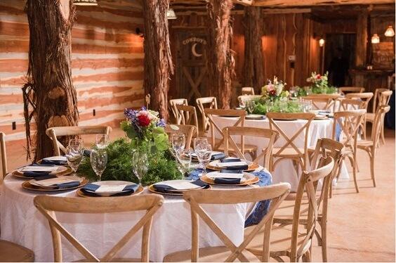 Wedding table decorations for Dark Blue, Burgundy and Purple December Wedding 2020