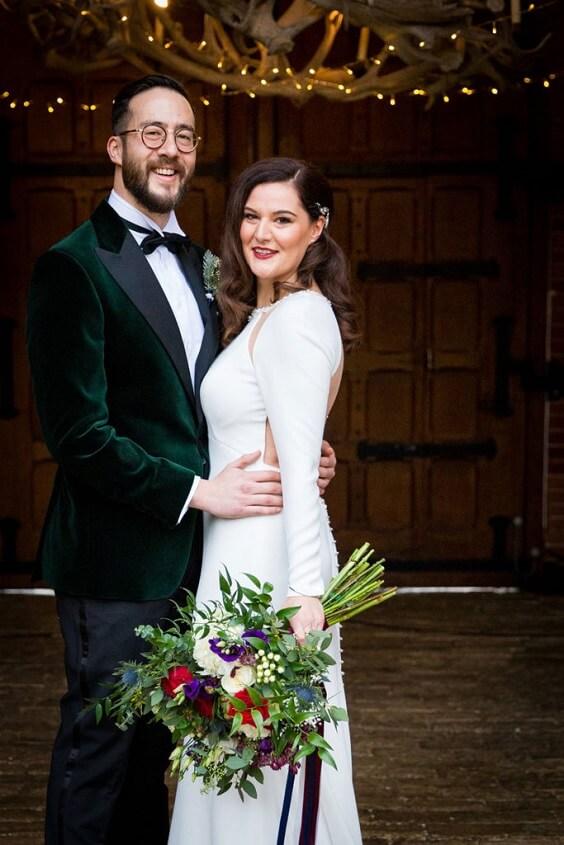 White bridal gown for Dark Blue, Burgundy and Purple December Wedding 2020