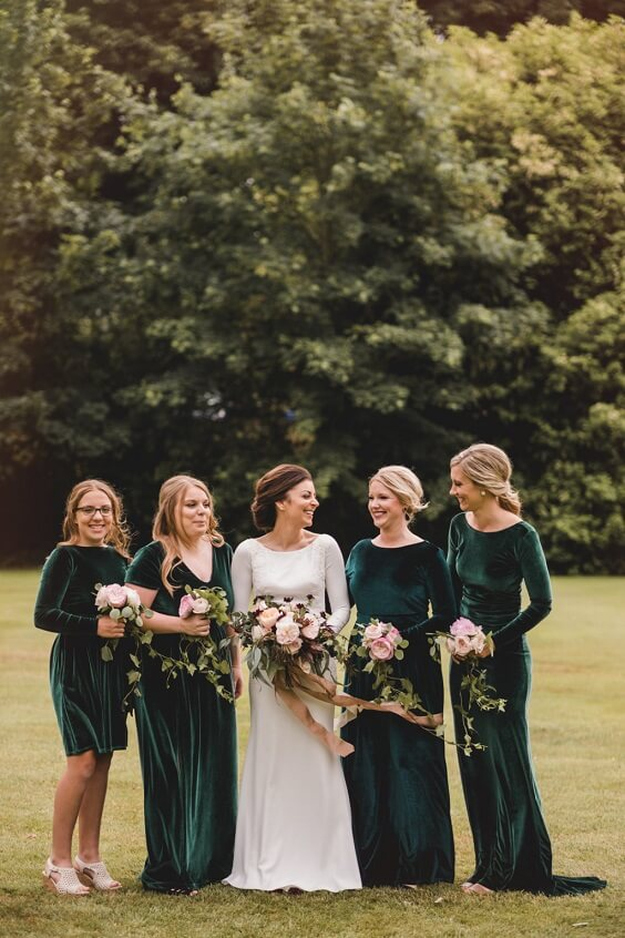 Emerald Green, Pink and Gold December Wedding 2020, Emerald Green Bridesmaid Dresses, Pink Bouquets