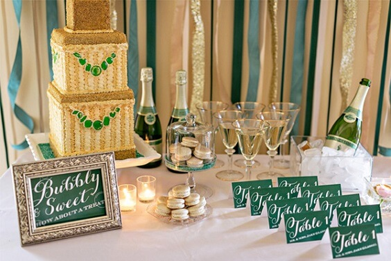 Wedding cake and Table numbers for Emerald Green, Pink and Gold December Wedding 2020