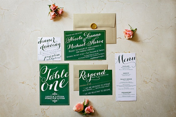 Wedding invitations for Emerald Green, Pink and Gold December Wedding 2020