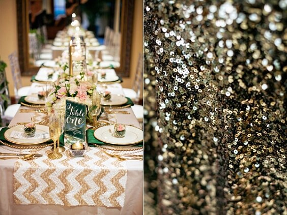 Wedding Table Decorations for Emerald Green, Pink and Gold December Wedding 2020
