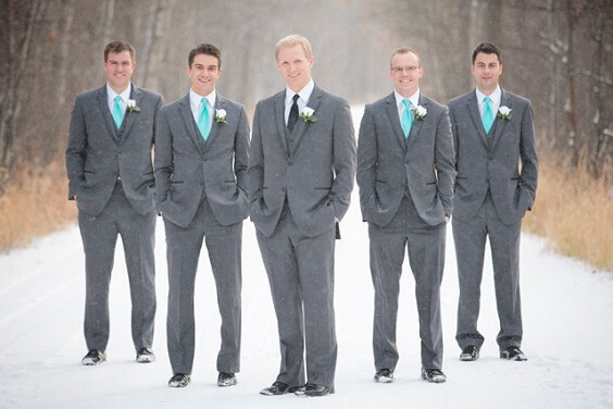 Grey Men Suits for Turquoise, White and Grey December Wedding 2020
