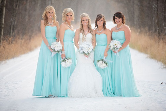 Turquoise, White and Grey December Wedding 2020, Turquoise Bridesmaid Dresses, Grey Suits