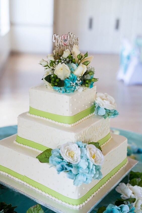 Wedding Cake for Turquoise, White and Grey December Wedding 2020