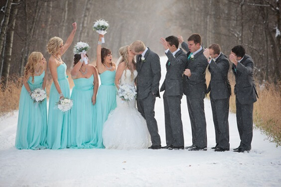 Wedding Party Wearing for Turquoise, White and Grey December Wedding 2020