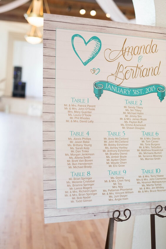 Wedding Seating Chart for Turquoise, White and Grey December Wedding 2020
