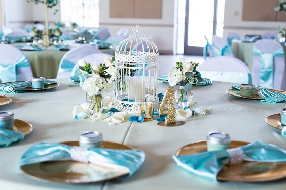 Wedding Table Decorations for Turquoise, White and Grey December Wedding 2020