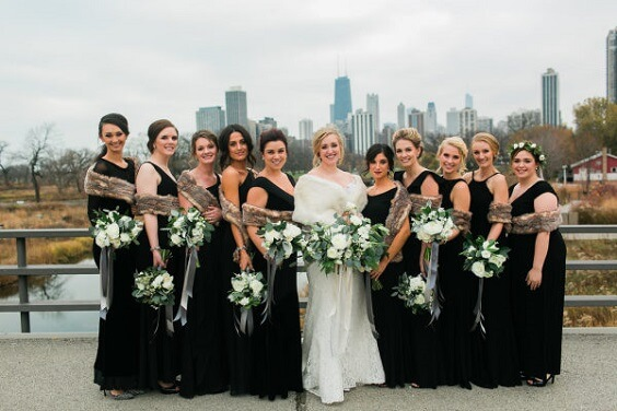 Black, White and Grey December Wedding 2020, Black Bridesmaid Dresses, Grey Fur Wraps