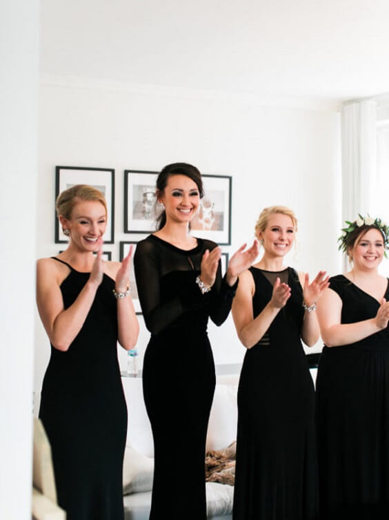 Black Bridesmaid Dresses for Black, White and Grey December Wedding 2020