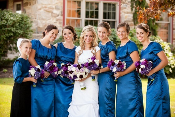 French Blue, Purple and Dark Blue December Wedding 2020, French Blue Bridesmaid Dresses, Purple Bouquets