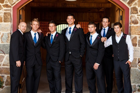 Groom groomsmen suits for French Blue, Purple and Dark Blue December Wedding 2020