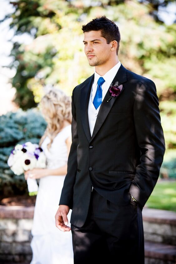 Groom suit for French Blue, Purple and Dark Blue December Wedding 2020