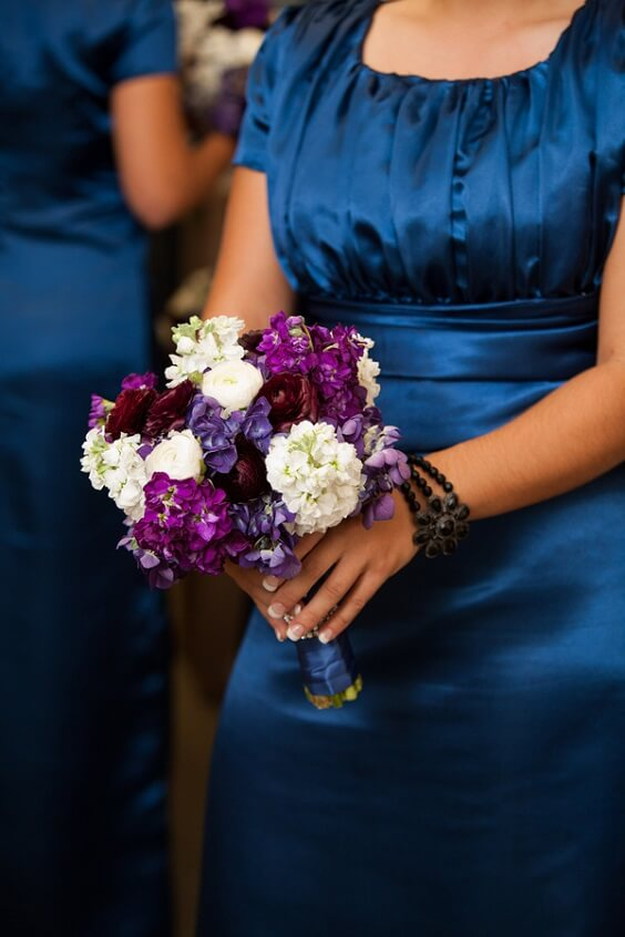 Purple bouquet for French Blue, Purple and Dark Blue December Wedding 2020