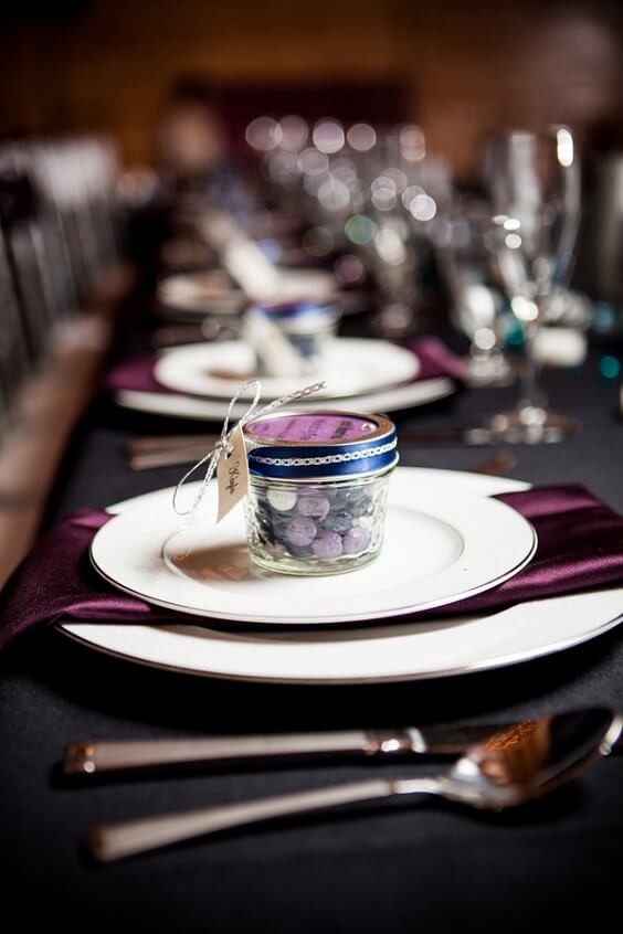 Wedding table decorations for French Blue, Purple and Dark Blue December Wedding 2020