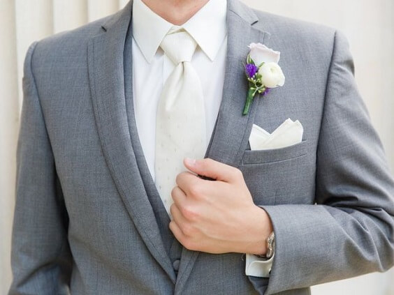Grey suits for Purple, White and Grey December Wedding 2020