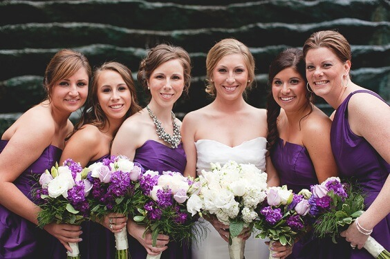 Purple, White and Grey December Wedding 2020, Purple Bridesmaid Dresses, White Bridal Gown