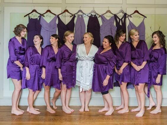 Robes for Purple, White and Grey December Wedding 2020