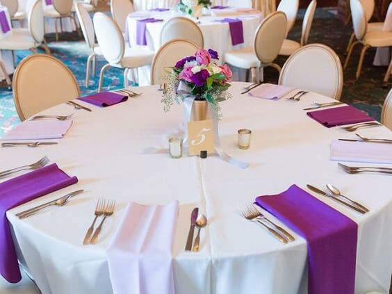 Wedding table decorations for Purple, White and Grey December Wedding 2020