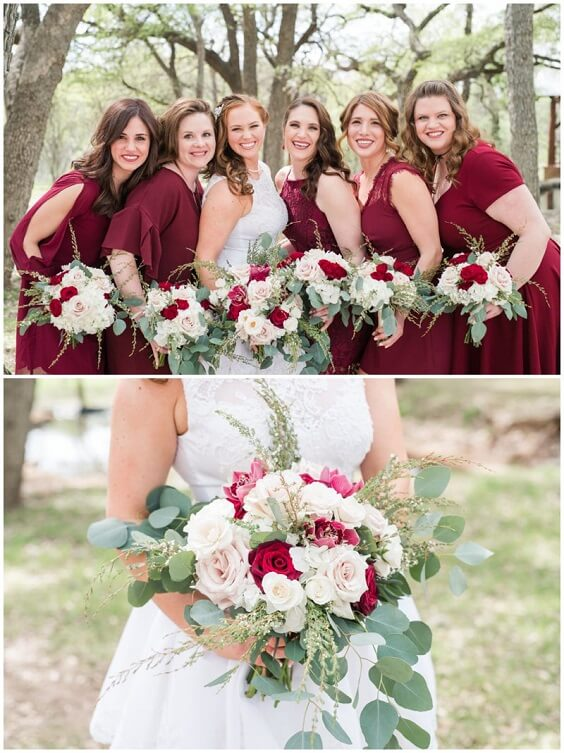 Burgundy, Greenery and Grey December Wedding 2020, Burgundy Bridesmaid Dresses, Greenery Decorations