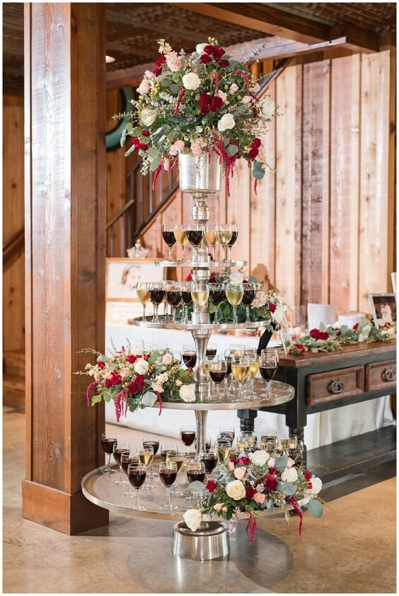 Wedding drinks for Burgundy, Greenery and Grey December Wedding 2020