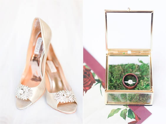 Wedding shoes wedding rings for Burgundy, Greenery and Grey December Wedding 2020