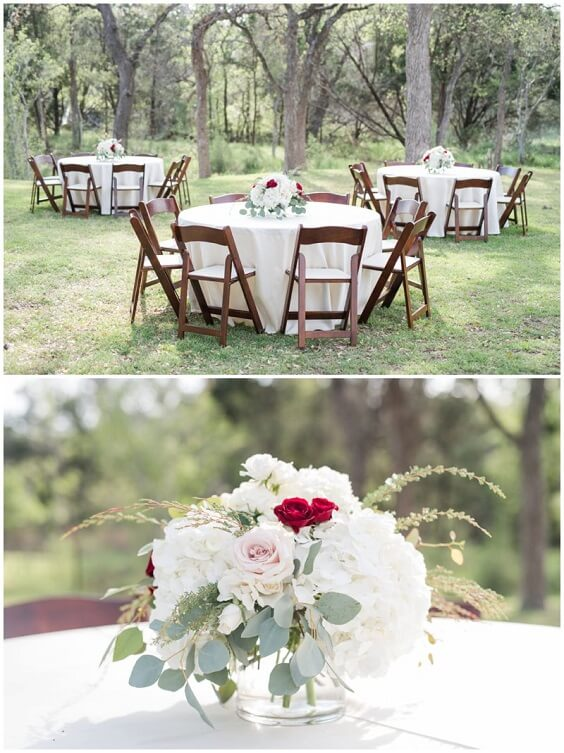 Wedding table decorations for Burgundy, Greenery and Grey December Wedding 2020