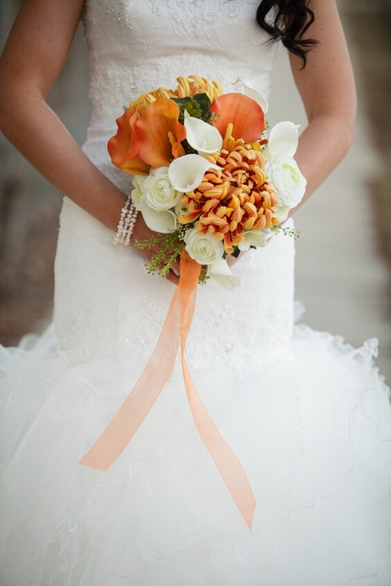 Bridal bouquet for Teal, Orange and Grey December Wedding 2020
