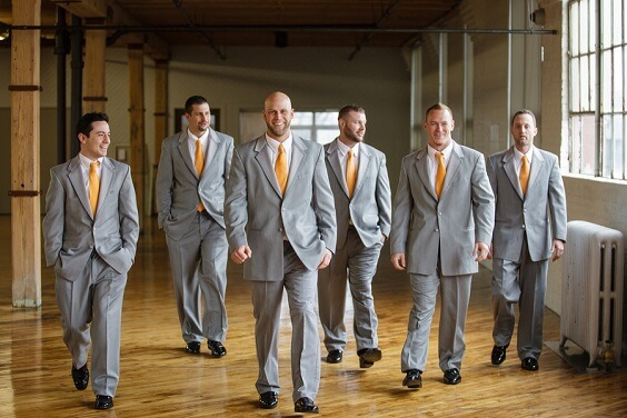 Groom groomsmen suits for Teal, Orange and Grey December Wedding 2020