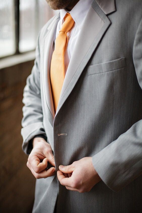 Groom Wearing for Teal, Orange and Grey December Wedding 2020
