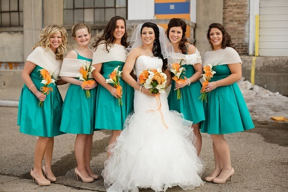Teal, Orange and Grey December Wedding 2020, Teal Bridesmaid Dresses, Orange Bouquets